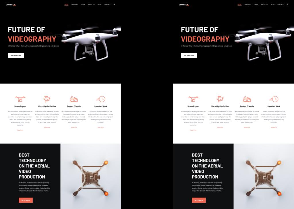Deux pages web identiques présentant un site de drones